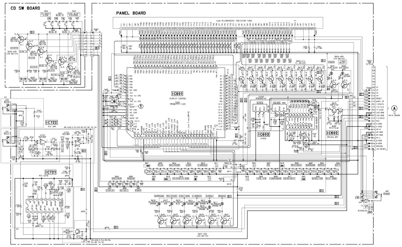 Sony Hcdbx5 Hcddx5 Hcddx5j Compact Disc Deck Receiver Panel Board Schematic Front Control Main