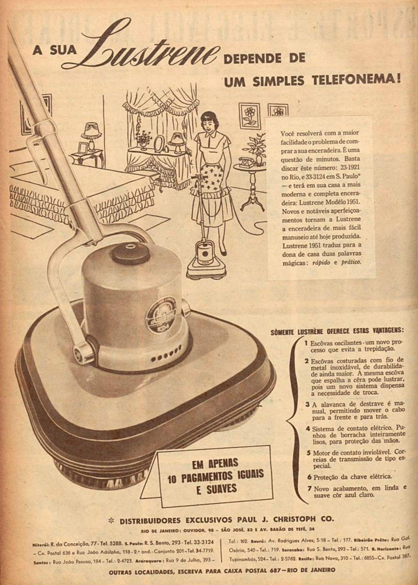Propaganda antiga promovia a venda da Enceradeira Lustrene por telefone em 1951