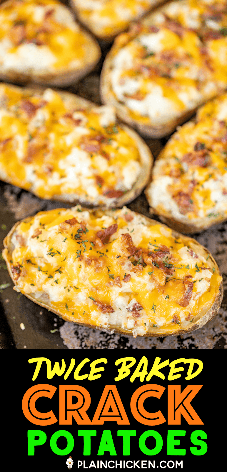 twice baked potatoes on a baking pan