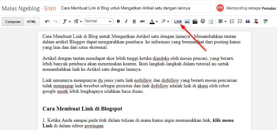 Cara Membuat Link di Blog untuk Mengaitkan Artikel satu dengan lainnya