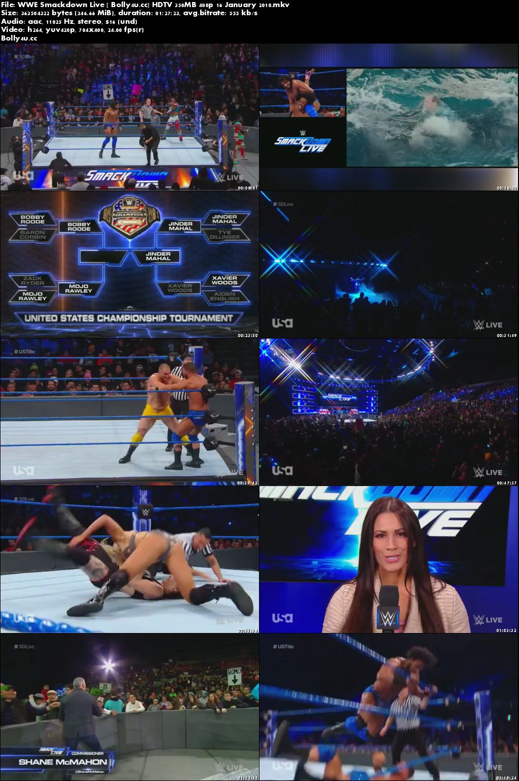 WWE Smackdown Live HDTV 350MB 480p 16 January 2018 Download