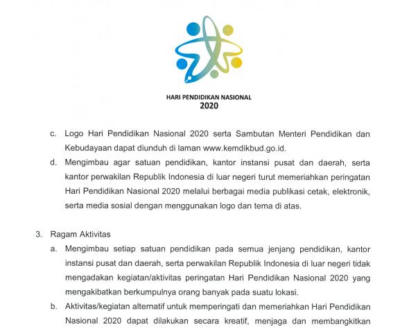 Surat Edaran Peringatan Hari Pendidikan Nasional Tahun 2020