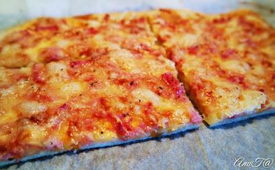 hiivaton pizzapohja, rapea pizzapohja, maailman paras kinkkupizza, paras kinkkupizza, nopea pizzapohja