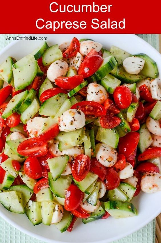 Cucumber Caprese Salad #cucumber #caprese #salad #saladrecipes #veganrecipes #vegetarianrecipes #vegetablerecipes