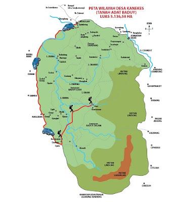 peta wilayah desa kanekes tempat tinggal suku baduy dalam dan baduy luar
