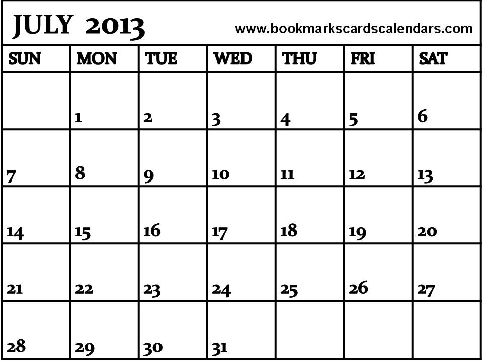 printable 2013 monthly calendar template - free printable monthly calendar