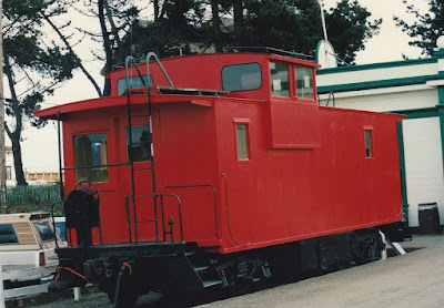 California Western Caboose #11 at Fort Bragg, California, on March 18, 1992