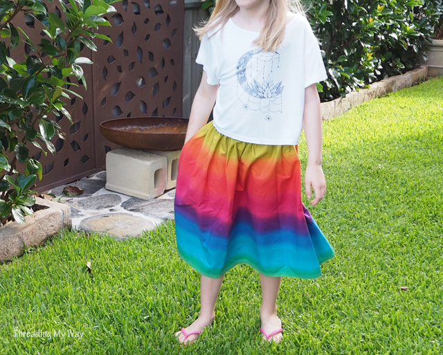 Turn a rainbow t-shirt dress into a gathered midi skirt ~ Threading My Way