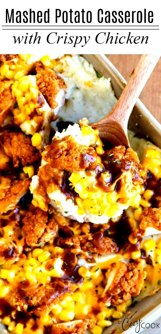 Amazing Mashed Potato Casserole with Crispy Chicken