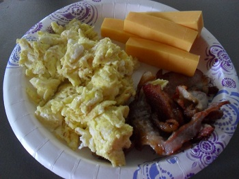 Scrambled Eggs, Bacon, and Cheese Sticks
