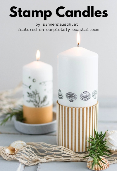 How to Stamp Candles with Beach Rubber Stamps