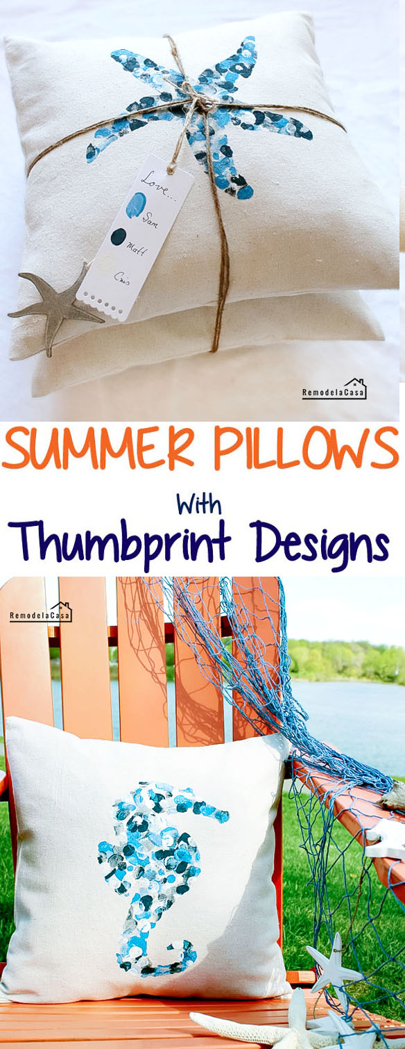 diy - summer pillows with thumbprint designs