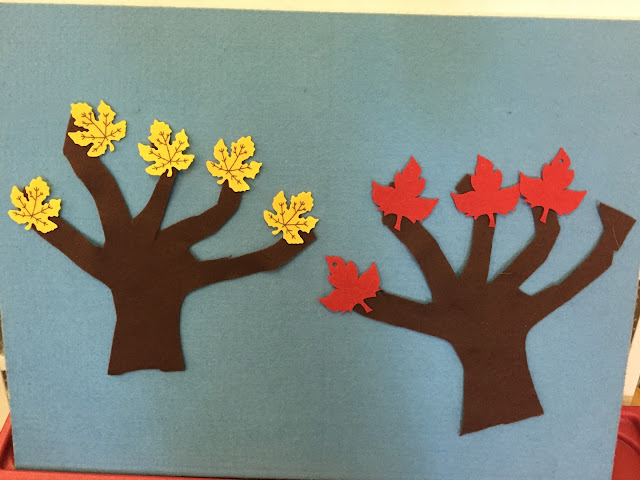 leaves on a felt board representing numbers 1-10