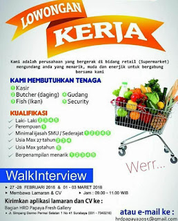 Walk In Interview di PAPAYA FRESH GALLERY SURABAYA Terbaru Maret 2018