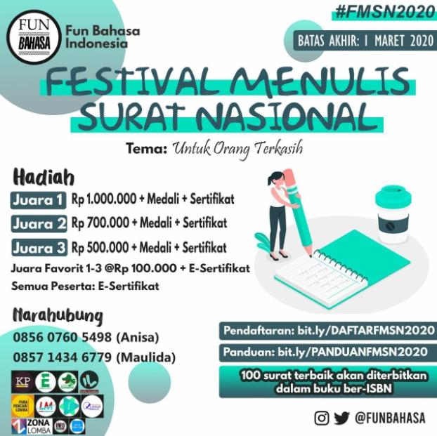 Festival Menulis Surat Nasional 2020 di Fun Bahasa