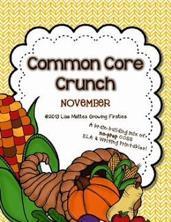 http://www.teacherspayteachers.com/Product/Common-Core-Crunch-November-ELA-CCSS-Printables-Growing-Firsties-931467