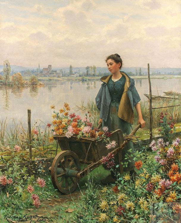 Colhendo Flores - Daniel Ridgway Knight e suas mais belas pinturas