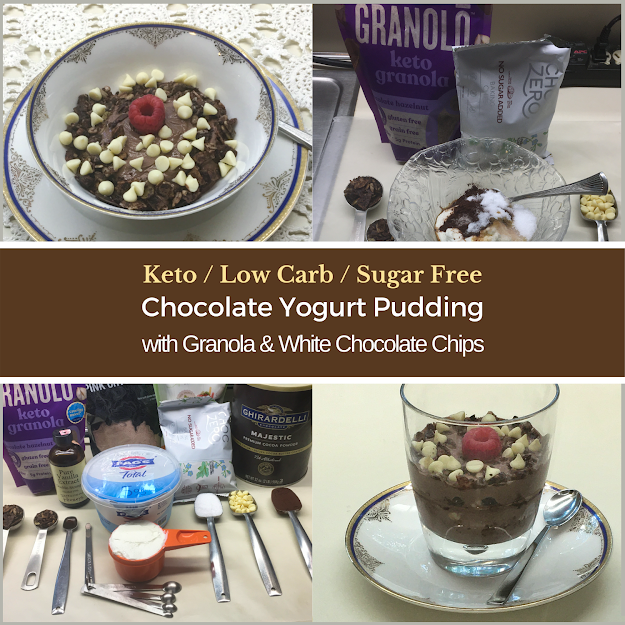 Photo collage main image - Keto / Low Carb / Sugar Free Chocolate Yogurt Pudding with Granola and White Chocolate Chips