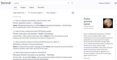 Requête Pluton sur Startpage