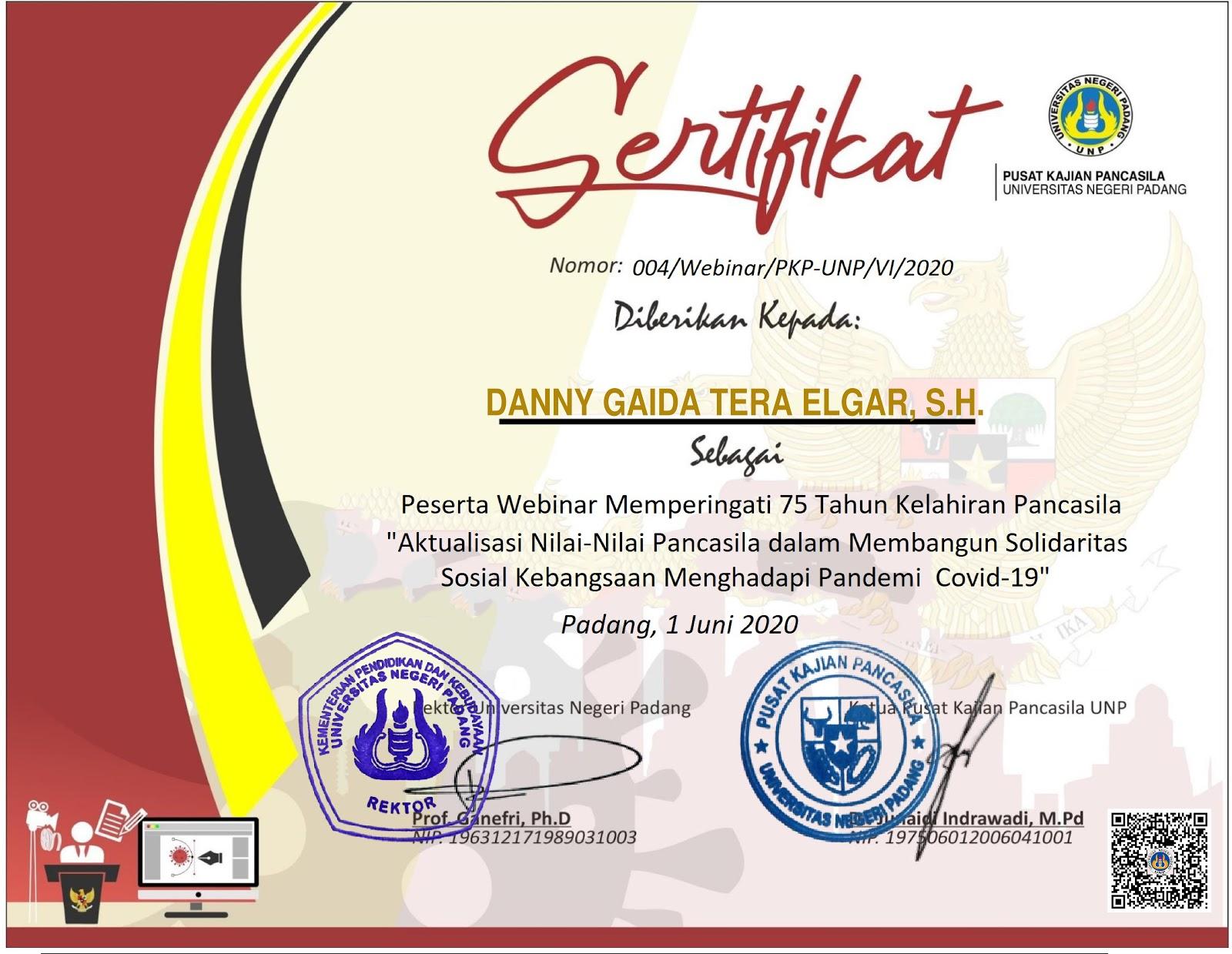 Sertifikat Peserta Webinar Pusat Kajian Pancasila Universitas Negeri Padang (UNP) | Memperingati 75 Tahun Kelahiran Pancasila (1 JUNI 2020)