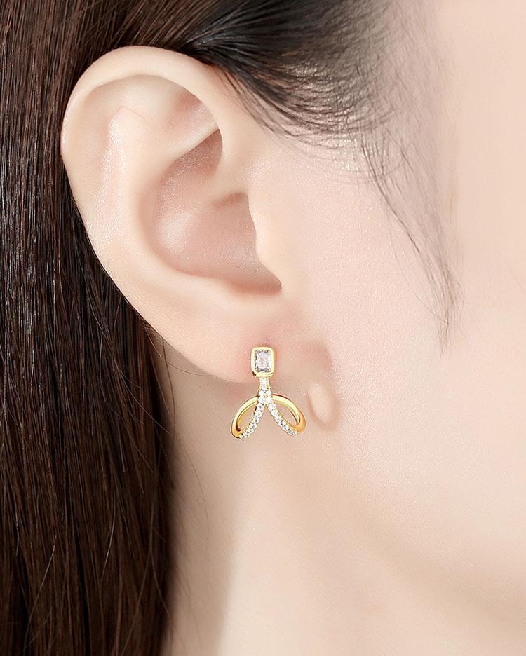 優美 V 925純銀鋯石耳環