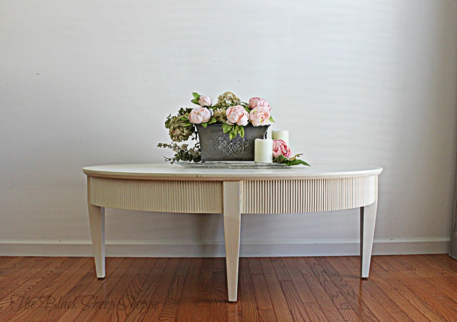 Oval coffee table painted Old White chalk paint.