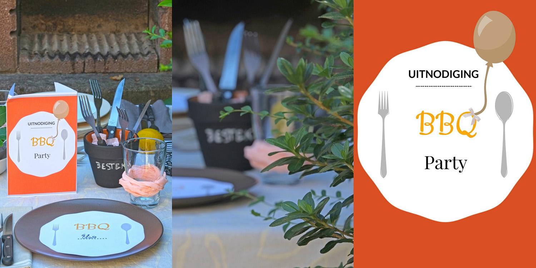Tijd voor een tuinfeest, tijd voor BBQ - uitnodiging + naamkaart