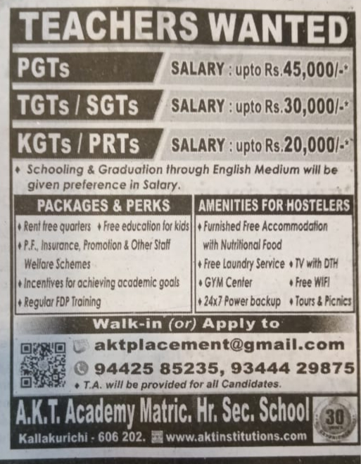 Teachers Wanted for KG To XII Std