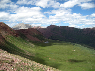 Snowmass Mountain in the distance and the Fravert Basin in front. From Frigid Air Pass