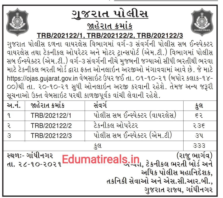 Gujarat Police | Police Sub Inspector (Wireless) | Technological | Police Sub Inspector(MT) Recruitment 2021 Notification