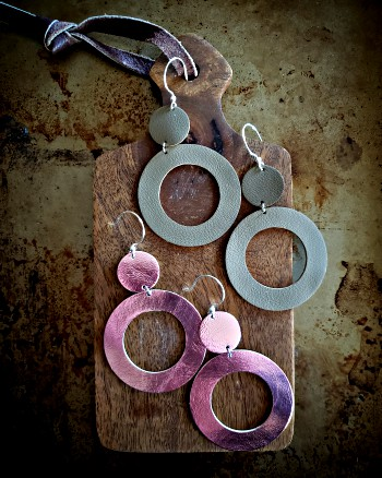 earrings, jewelry, accessories, sterling silver, leather, metallic, rose gold, hand made, gifts, circles