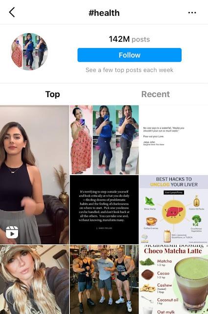 Health hashtags for Instagram