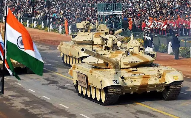 Indian Army's T-90 tanks during the Republic Day parade in New Delhi.