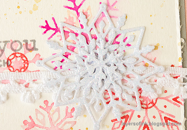 Layers of ink - Snowflake Builder Card Tutorial by Anna-Karin Evaldsson. Glitter snowflakes.