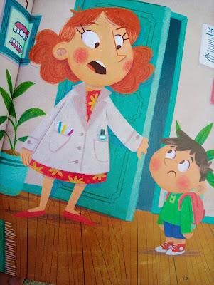 Imagen de interior con la mamá dentista