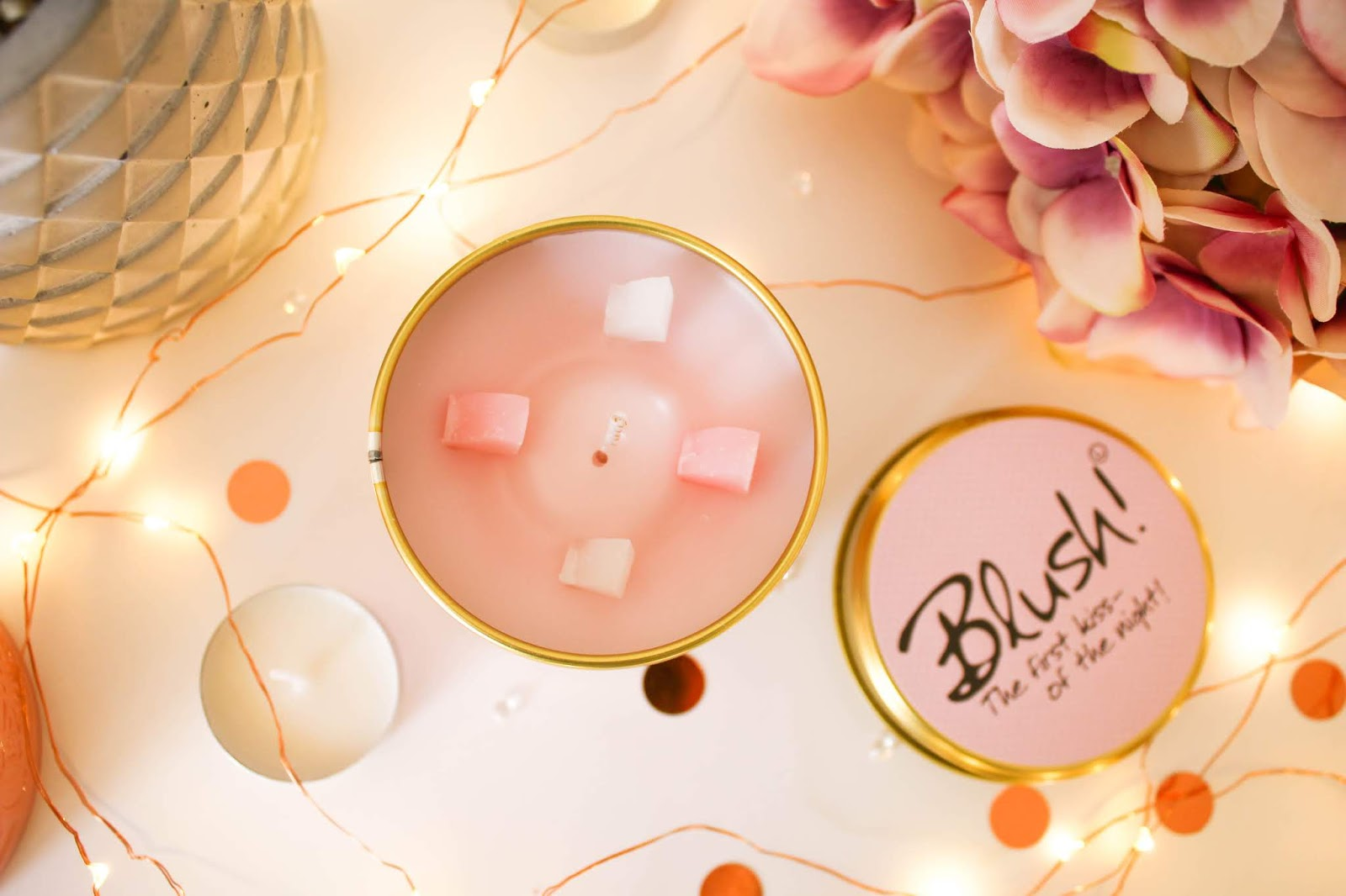 Lily-Flame Blush Scented Candle Tin - The First Kiss Of The Night!