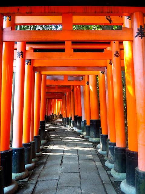 Vermillion gates at Fushimi Inari Taisha Shrine, Kyoto, Japan