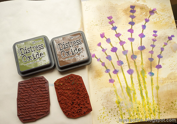 Layers of ink - Lavender Art Journal Page by Anna-Karin Evaldsson. Stamp more texture.