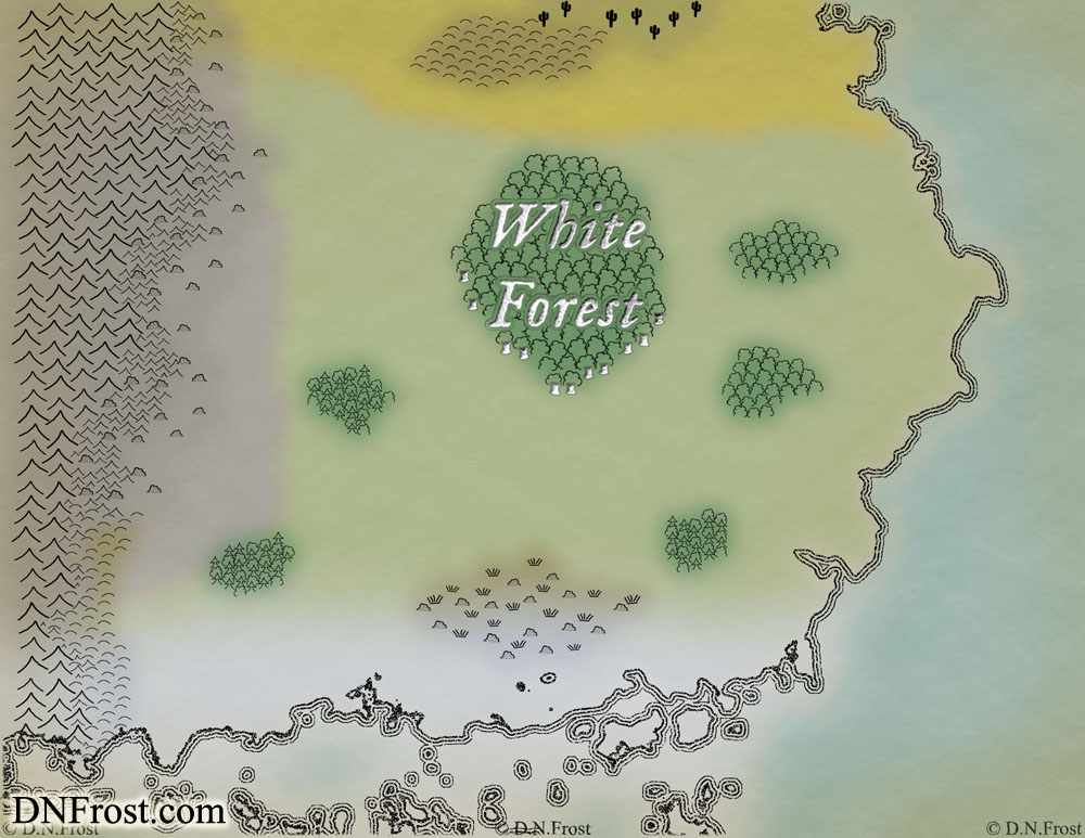 WIP Image: The White Forest of Iorden, a map commission by D.N.Frost for The Once and Future Nerd http://www.dnfrost.com/2016/09/the-white-forest-of-iorden-map.html Part 3 of a series.