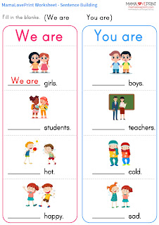 Mama Love Print 自製工作紙 - 英文句子 I am / You are / We are 幼稚園工作紙  I am / You are / We are Practice Kindergarten Worksheet Free Download