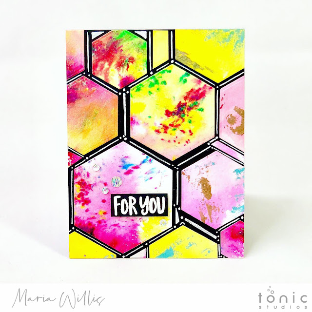 #cardbomb, #mariawillis, #card, #handmade, #handmadecards, #cards, #art, #watercolor, #tonicstudios, #tonicstudiosusa, #color, #diecutting, #stamp, #ink, #paper, #papercraft, #hexagon,