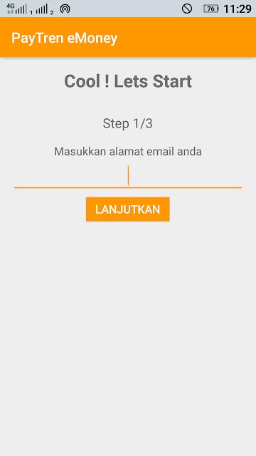 cara daftar paytren emoney masukkan email aktif