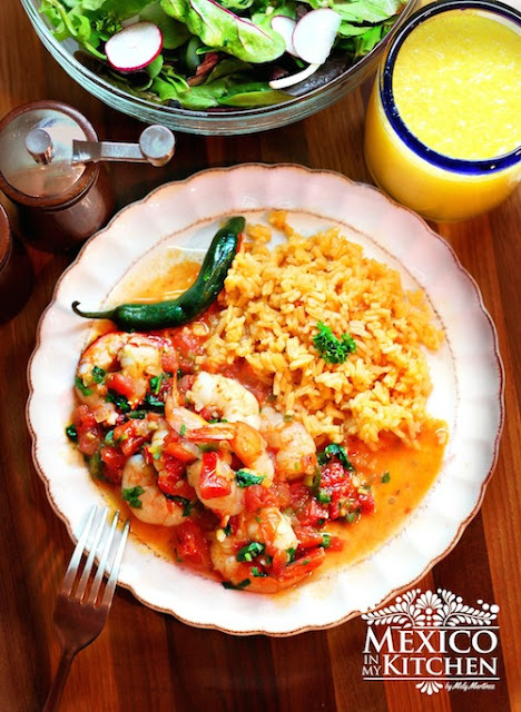 Shrimp Mexican Style or ranchero style, easy and quick recipe