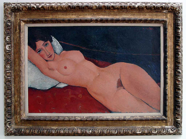Reclining Nude on White Pillow by Amedeo Modigliani, Staatsgalerie Stuttgart
