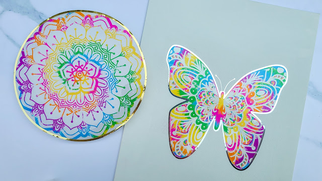 mandalas, offset, adhesive vinyl, sticker paper, silhouette cameo project