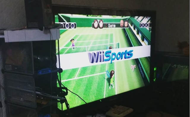 The Wii with Wii Sports on.