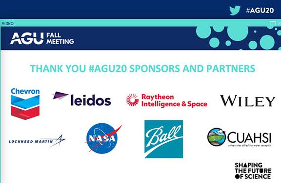 Sponsors for the AGU Fall 2020 Meeting (Source: AGU Fall 2020 Meeting)