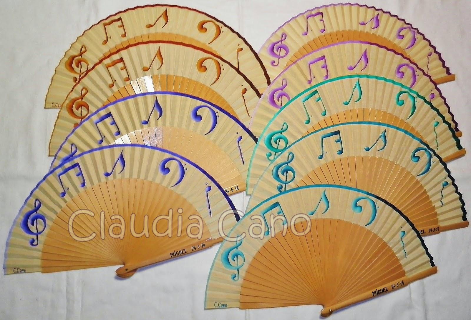 Abanicos para bodas y eventos claudia cano abanicos con notas musicales en madera natural para - Plantillas para pintar camisetas a mano ...