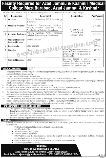 Medical Jobs in Azad Jammu And Kashmir Medical College | Apply Now