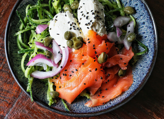 Creamy Cucumber Avocado Noodles with Smoked Salmon
